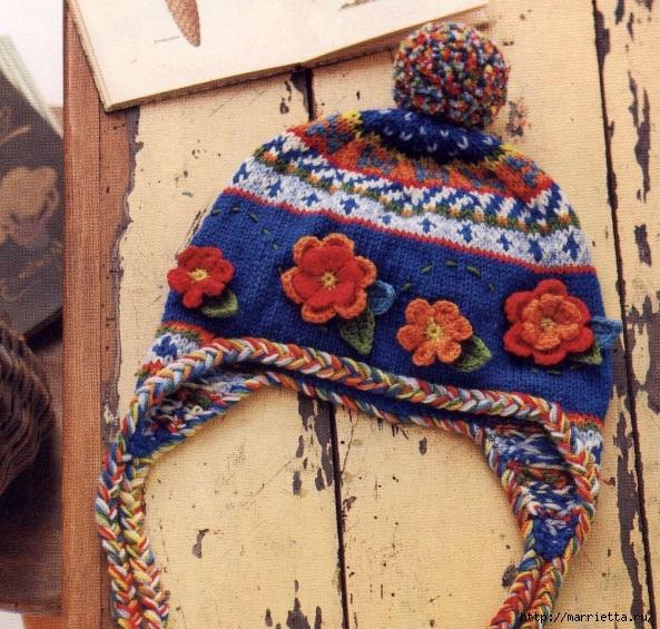 Теплая шапочка с орнаментом и цветочками крючком (3) (593x565, 327Kb)