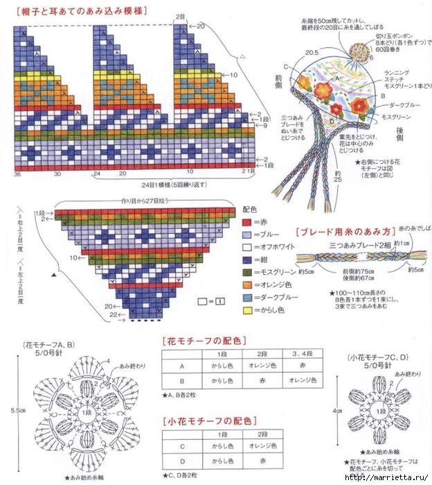 Теплая шапочка с орнаментом и цветочками крючком (5) (624x700, 313Kb)