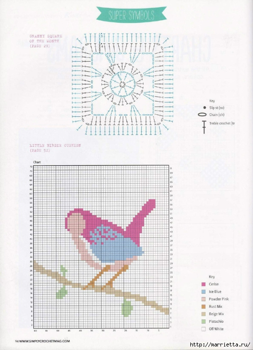 Подушка с птичкой на ветке. Вязание крючком (2) (505x700, 219Kb)