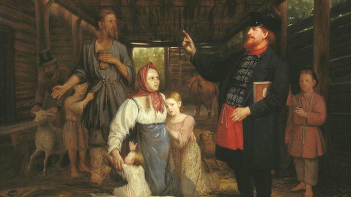 Крепостное право на �уси. Александр Красносельский. Сбор недоимок. 1869 (700x394, 265Kb)