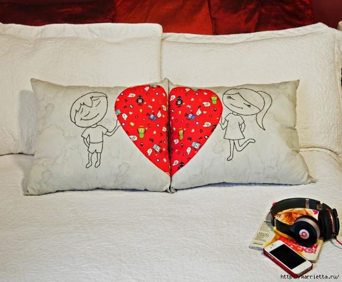 Подушки для влюбленных. Шитье с аппликацией (2) (700x578, 260Kb)