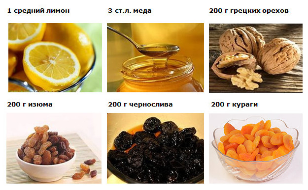 Рецепт смеси из сухофруктов и меда для сердца