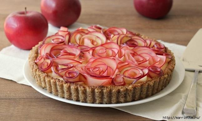 Красивый и вкусный пирог. Яблочные розы в ореховой корзине (1) (647x389, 155Kb)