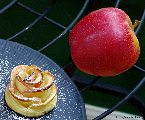 Яблочное пирожное Букет роз (5) (600x500, 287Kb)