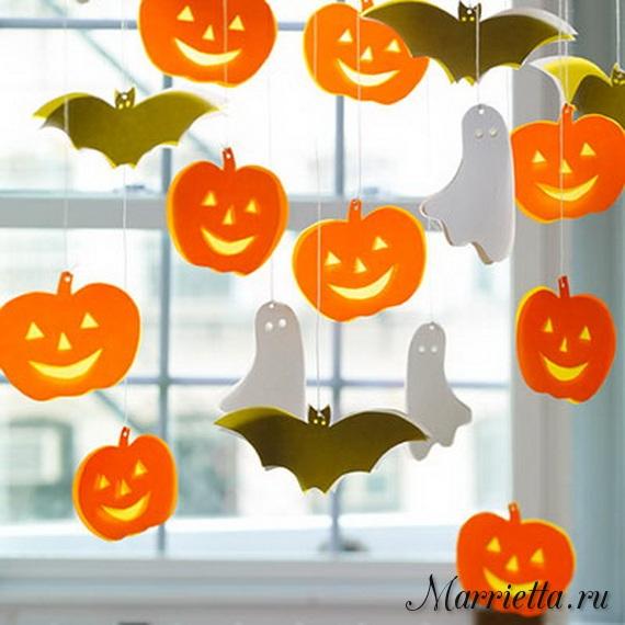 Подвески с тыквами и летучими мышами. Шаблоны к Хэллоуину (1) (570x570, 267Kb)