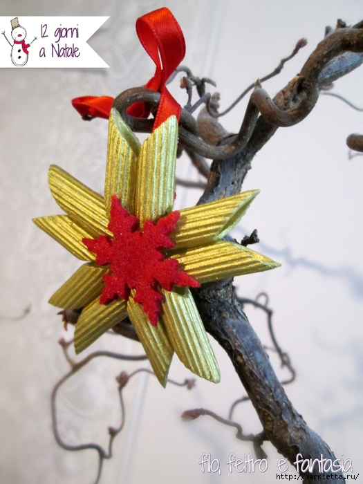 Из макарон для новогодней елочки - ангел и звезда (1) (525x700, 250Kb)