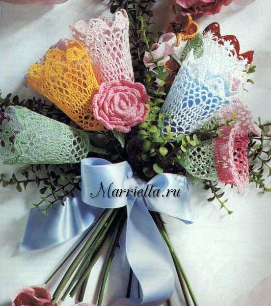 Нежный букет цветов крючком. Схемы и описание (1) (552x624, 377Kb)