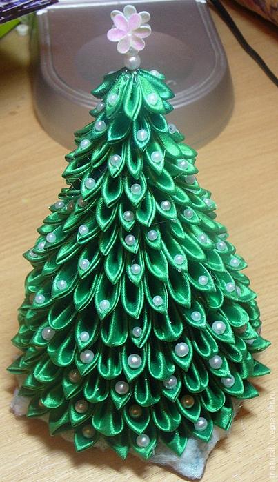 Фото елки из лент своими руками мастер класс