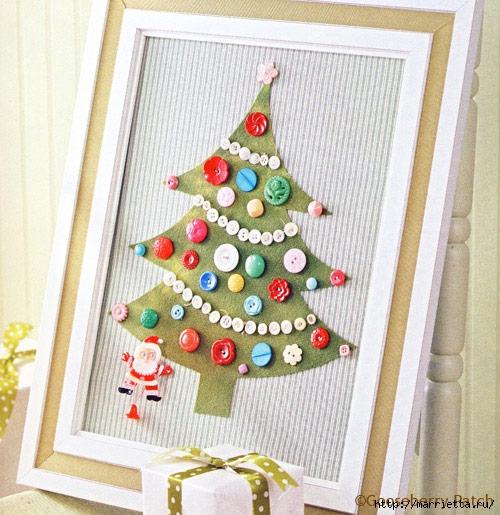 Новогодние елки из пуговиц своими руками