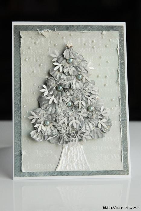 Скрапбукинг. Идеи новогодних открыток с елочками из цветов (4) (467x700, 223Kb)