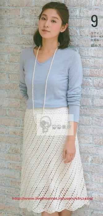 Белая юбка из журнала Let's knit series (332x700, 188Kb)