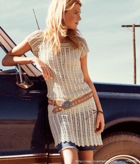 Короткое летнее платье крючком 1