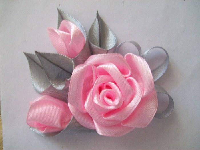 Атласные ленты банты своими руками розы