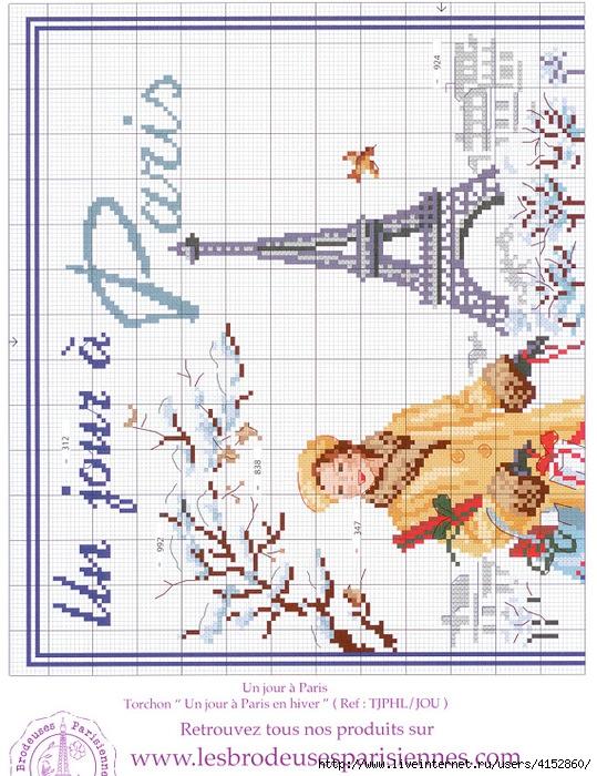 Ах,Париж... схемы вышивки