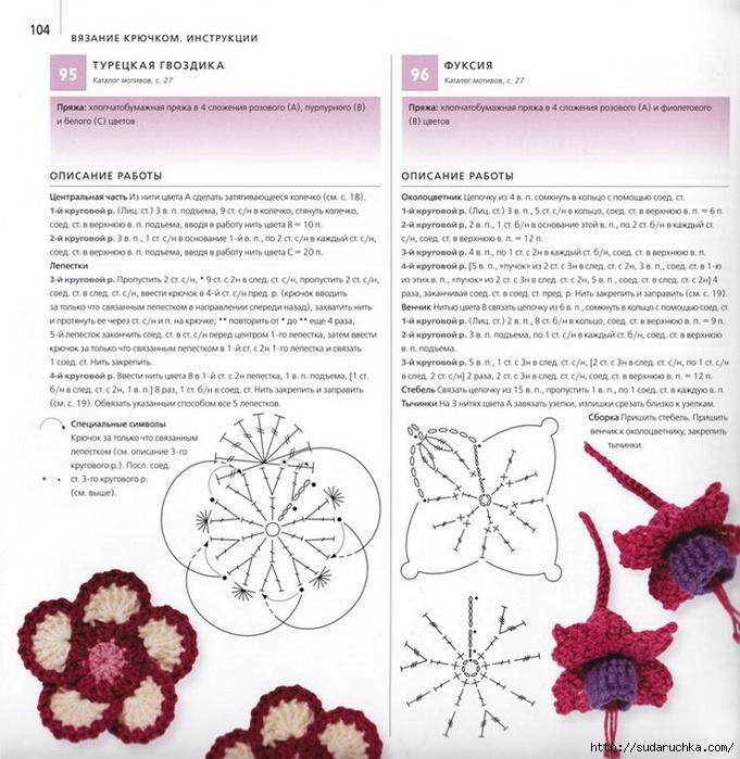 Воздушные цветы крючком схема и описание