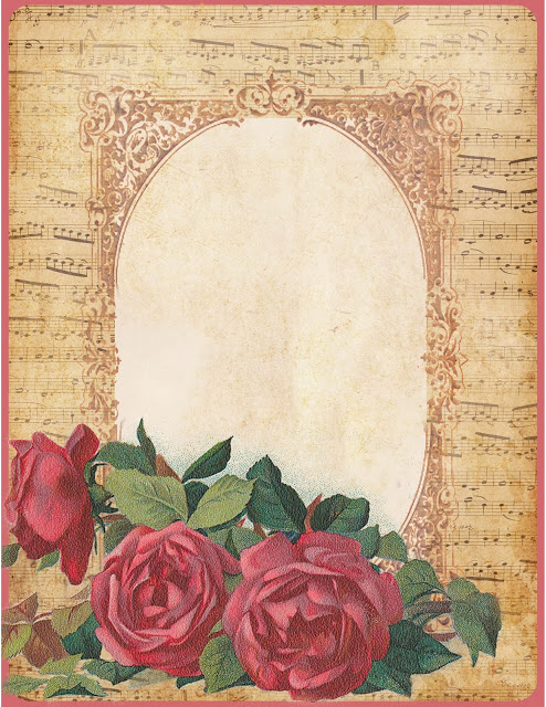 French sheet music & Springfield roses stationery (494x640, 145Kb)