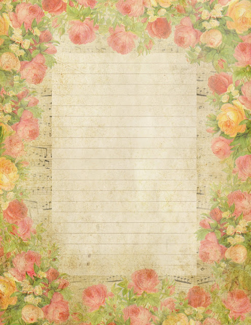 Roses & French sheet music lined paper ~ lilac-n-lavender (494x640, 124Kb)