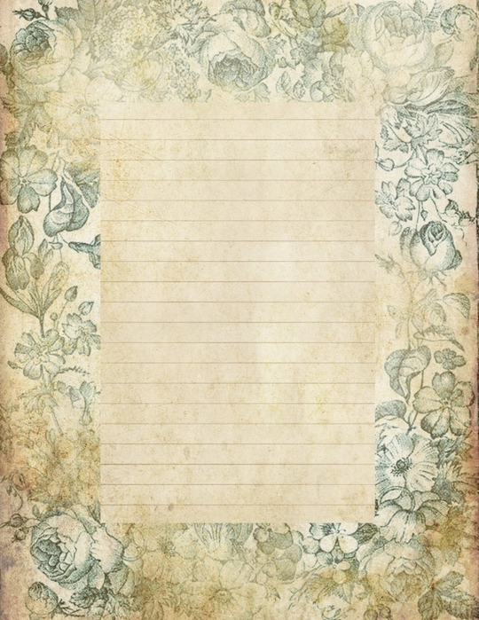 lined page grungy stationary blue floral background (540x700, 323Kb)
