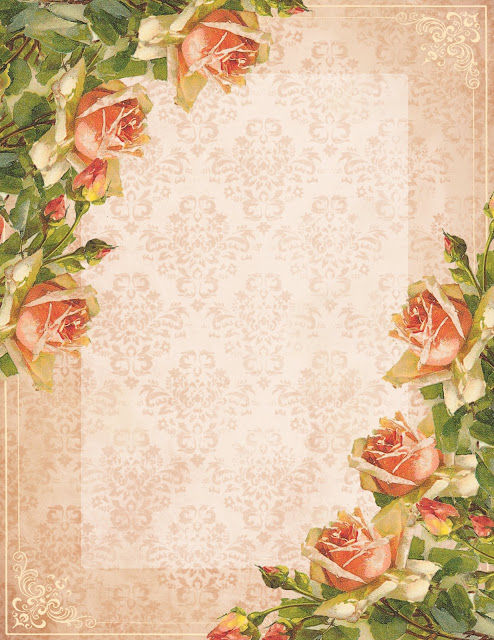 Stationery ~ Victorian peach roses 2 (494x640, 128Kb)