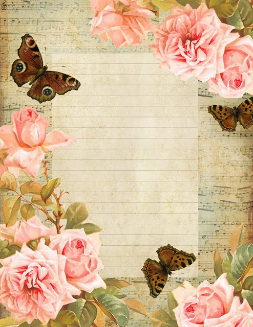 French sheet music lined paper ~ brown butterflies pink roses blue sky (494x640, 127Kb)
