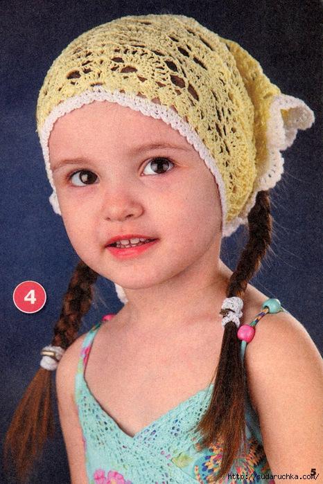 Детская косынка крючком - схема и описание. вязание крючком.