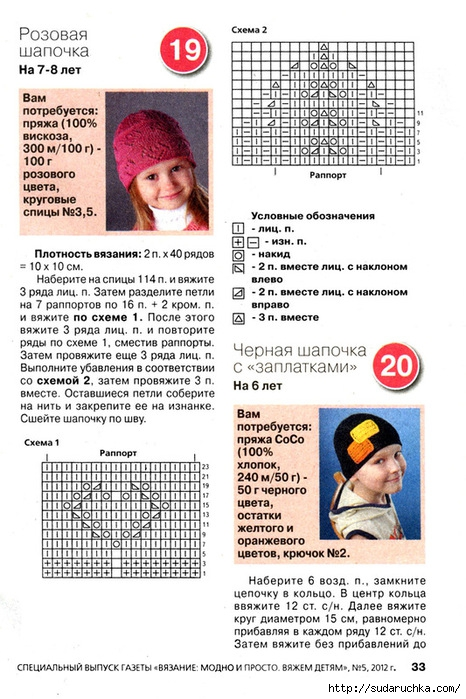Вязаные шапочки на детей в схемах