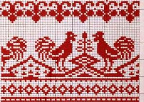 Вышивка крестом рушники петухи