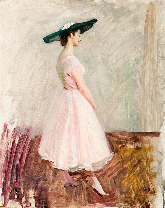 Alfred James Munnings. Young Ladies, in a Pink Selfridge's Dress (554x700, 342Kb)