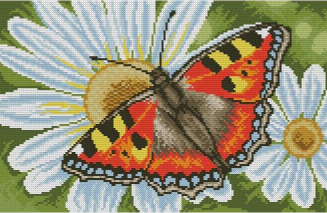 Бабочка на ромашках вышивка