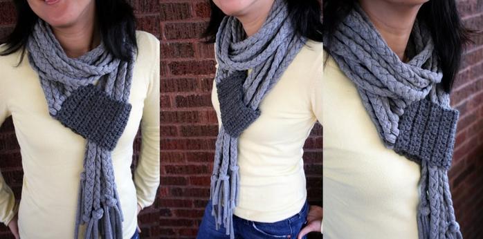 трикотажный шарф с вязанным элементом (700x346, 191Kb)