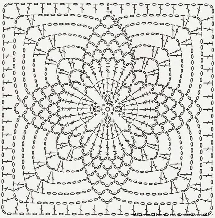 Давайте отдельно выделим квадратные схемы мотивов для вязания крючком. .  Ведь именно квадратные мотивы чаще всего...