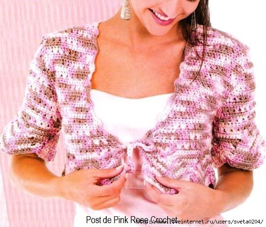 Bolero Seda Rosa Mescla - Croche (541x462, 189Kb)