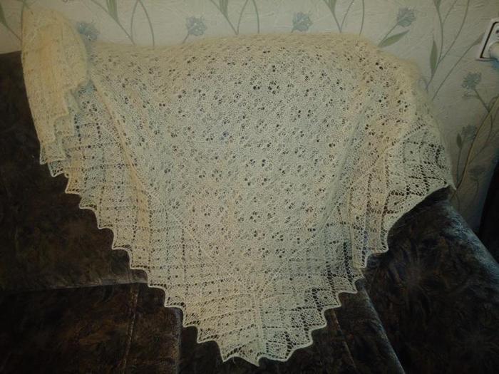 Схемы и описание вязания шали и оренбургского пухового платка спицами для начинающих.  Прочитать целикомВ.