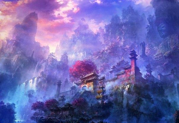 """Вышивка крестом.  Храм.  Теги.  Гамма, 75 цветов.  KuiSan.  250x200 крестов. япония.  1. Схемы вышивки  """"япония """". горы..."""