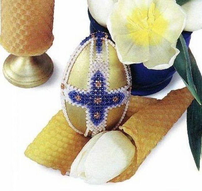 """Бисероплетение - Яйца  """"Голубые кресты """" и  """"С ремешком """".  Категория: Фаберже из бисера Просмотров: 157 Дата."""