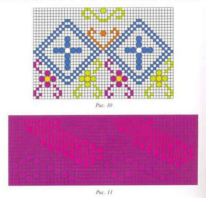 Схемы узоров представлены на рис 10-13.  У подарочных яиц одинаковая окружность- 22 см, высота -12 см...