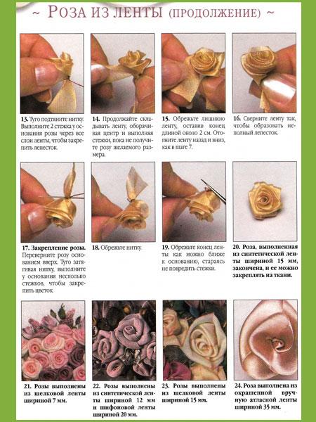 Делать розы из лент
