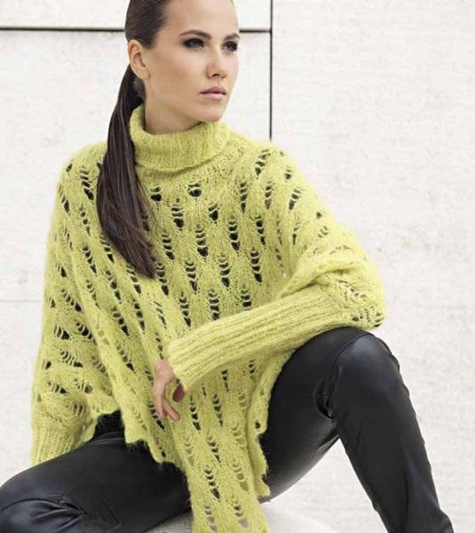 Ажурный свитер-пончо
