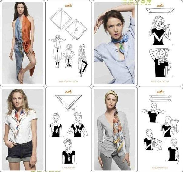 20 вариантов, как носить шарф (604x567, 70Kb)