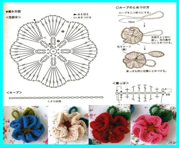 вязаные крючком цветы схемы вазочек