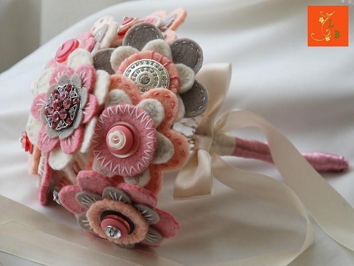Свадебный букет из фетра своими руками