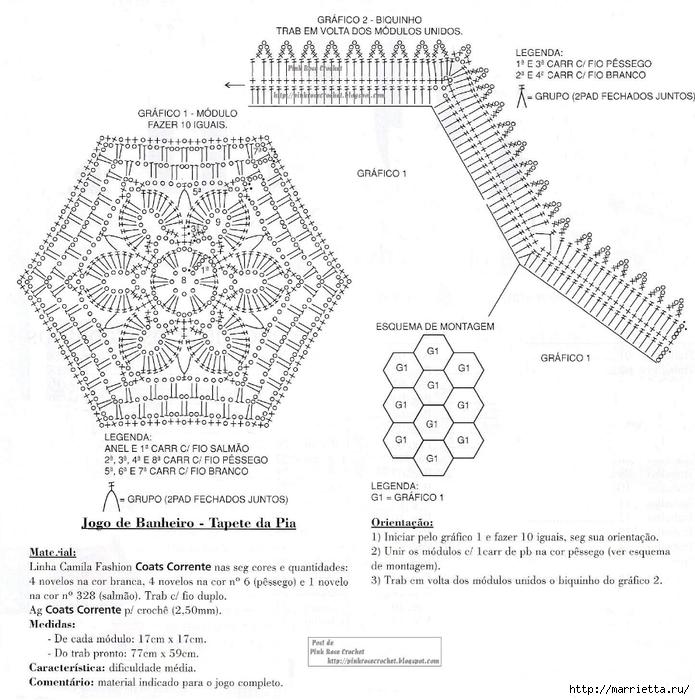 коврики и комплекты для ванной крючком из меланжевой пряжи (2) (695x700, 294Kb)
