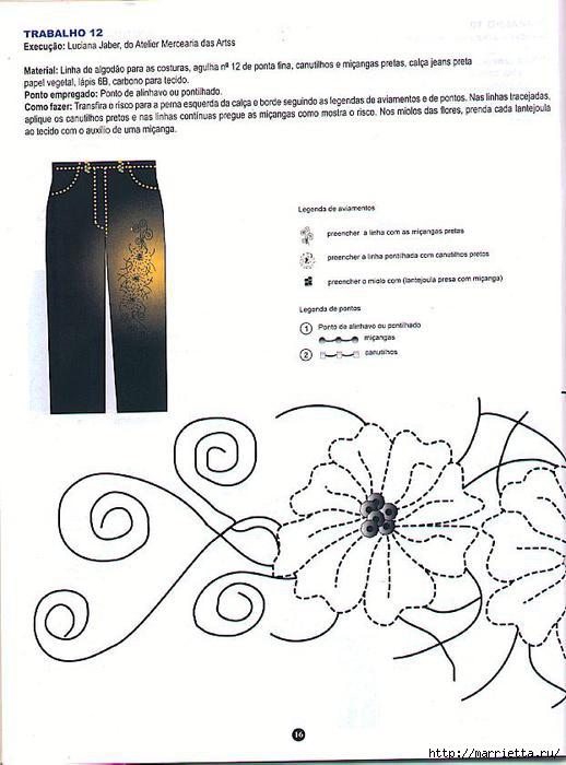 вышивка пайетками на джинсах