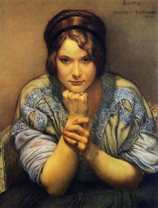 Carlos Schwabe (German Symbolist  1866–1926) Lotte 1908  (531x700, 188Kb)
