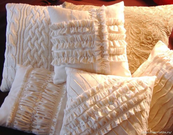 подушки из мешковины, бязи и цветов в стиле шебби шик (4) (700x549, 249Kb)