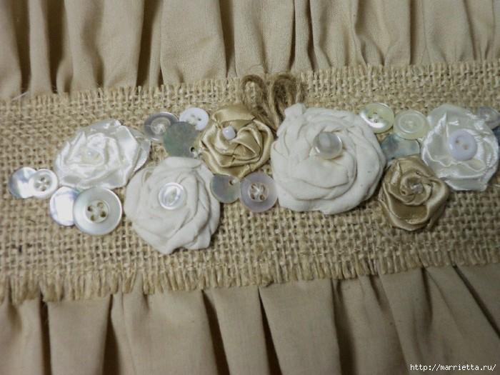 подушки из мешковины, бязи и цветов в стиле шебби шик (6) (700x525, 201Kb)