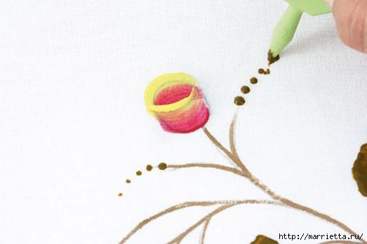 роспись по ткани. растительный мотив с бабочками (3) (523x349, 79Kb)