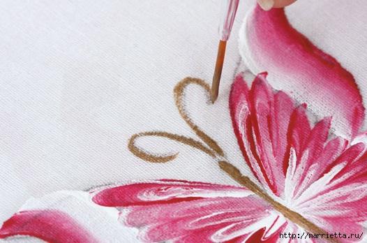 роспись по ткани. растительный мотив с бабочками (9) (526x348, 135Kb)