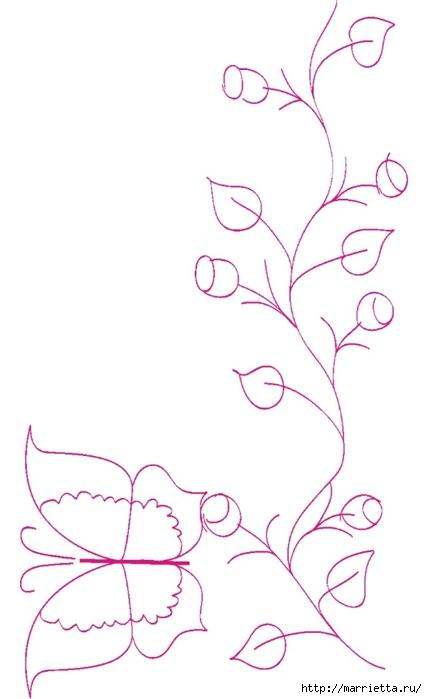 роспись по ткани. растительный мотив с бабочками (11) (427x700, 109Kb)