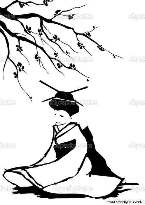 depositphotos_9443097-Geisha-and-sakura. (497x700, 123Kb)